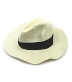 ケイビーエフ KBF アーバンリサーチ ツバ広 ペーパー ハット 帽子 オフホワイト 56~57.5cm