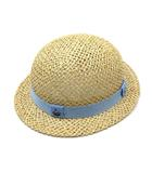 ファミリア Familiar 麦わら帽子 天然草 ゴム付き 乗り物刺繍 45 ナチュラル ブルー