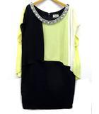 ダイアグラム グレースコンチネンタル Diagram GRACE CONTINENTAL ドレス ワンピース 配色 ドレープ ビジュー イエロー ブラック 36 35135072