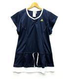 アディダス adidas テニス ウェア チュニック 半袖 ワンポイント ネイビー ホワイト 紺 白 M