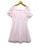 エムズグレイシー M'S GRACY ワンピース 膝丈 オーガンジー フラワー刺繍 半袖 ピンク リネン 9号