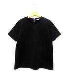ザラ ZARA カットソー Tシャツ フェイク スエード 半袖 バックジップ ブラック 黒 M 9929/152/800