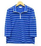 エレッセ ellesse ハーフジップ シャツ 七分袖 ボーダー 吸湿速乾 ドライ UVカット ブルー 青 M EW05137 テニス 美品