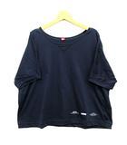 ダブルスタンダードクロージング ダブスタ DOUBLE STANDARD CLOTHING ワイド リラックス Tシャツ カットソー プリント 半袖 ゆったり ネイビー 紺 F 美品