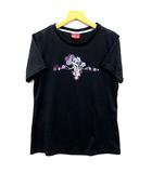 プーマ PUMA Tシャツ 半袖 クルーネック フラワー ロゴ プリント スポーツウェア ブラック パープル 黒 紫