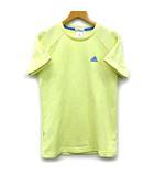 アディダス adidas Tシャツ 半袖 クルーネック CLIMALITE 吸汗速乾 UVケア スポーツウェア イエロー 黄 L 美品