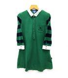 バーバリーブルーレーベル BURBERRY BLUE LABEL ポロシャツ ワンピース Aライン 七分袖 ボーダー 鹿の子 ホースマーク グリーン 緑 38