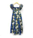KY'S ハワイアン ドレス ムームー ワンピース オフショル 花柄 ハイビスカス フリル ロング ブルー 青 XS 美品 ハワイ製