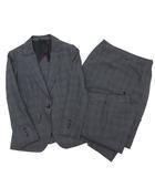 ヒルトン HILTON スーツ 上下 3点 セットアップ ジャケット パンツ スカート ストレッチ SUPER110S 5 グレー チェック 春夏