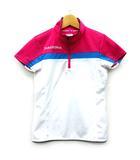 ディアドラ DIADORA ゲーム シャツ 半袖 ハーフジップ テニス バドミントン スポーツウェア ホワイト ピンク ブルー M 美品