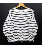 ディスコート Discoat カットソー BIG Tシャツ コットン ボーダー バルーンスリーブ ショート ホワイト ブラック 白 黒 M