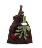 ポテチーノ POTECHINO さえら 巾着 ツイン ポーチ バッグ お花モチーフ ナイロン 茶 ダークブラウン 美品
