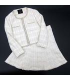 イネド INED スカート スーツ 上下 セットアップ ツイード ノーカラー ジャケット アイボリー 7 春夏可 セレモニー フォーマル 入園式 卒園式