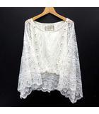 ラグナムーン LagunaMoon レース ビジュー トップス Tシャツ カットソー 長袖 ブラウジング ホワイト 白 F 美品 031110402100