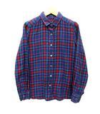 ロペ ROPE チェック ネルシャツ 長袖 ネイビー レッド 紺 赤 36 美品