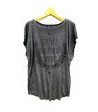 ディーゼル DIESEL カットソー Tシャツ 切りっぱなし レーヨン フェザー ロゴ フレンチスリーブ チャコールグレー S