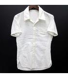 マニアックワークス MANIAC WORKS シアサッカー シャツ 半袖 スキッパー シャドーストライプ ホワイト 白 M