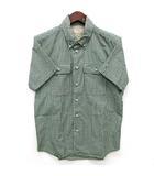 エターナル ETERNAL ギンガム チェック シャツ 半袖 ボタンダウン グリーン 緑 38 美品