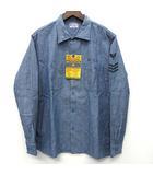バズリクソンズ BUZZ RICKSON'S ブルー シャンブレー オープンカラー シャツ 長袖 BLUE CHAMBRAY OPEN SHIRT U.S.N STENCIL BR27839 M