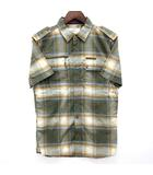 ディーゼル DIESEL ミリタリー チェック シャツ コットン 半袖 スリムフィット グリーン 緑 S 美品