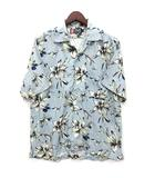 チャップス CHAPS ラルフローレン アロハシャツ オープンカラー 花柄 半袖 レーヨン ライトブルー M 美品