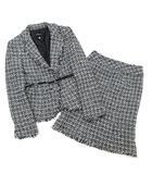ボッシュ BOSCH ツイード スカート スーツ 上下セットアップ ジャケット ベルト付き グレー 38 36 入園式 卒園式 セレモニー