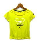 フィラ FILA Tシャツ 半袖 プリント メッシュ クルーネック テニス ウェア イエロー 黄 S 美品 VL1187