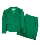ミス アシダ miss ashida スーツ 上下セットアップ ラウンドバルカラー ジャケット スカート 緑 ビビットグリーン 9 日本製