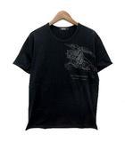 バーバリーブラックレーベル BURBERRY BLACK LABEL Tシャツ コットン 半袖 ビッグホースプリント ブラック 黒 3 美品
