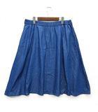 ロンドンデニム London Denim シャンブレー デニム フレア スカート ひざ丈 インディゴ 19号 美品 大きいサイズ