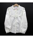 アクシーズファム axes femme ブラウス フリル衿 パールボタン レース 長袖 ホワイト 白 140 美品
