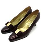 イヴサンローラン YVES SAINT LAURENT リボン パンプス レザー エナメル 切替 靴 ダークブラウン ダークブラウン 茶 35.5 22.5cm相当 リーガル製