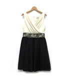 グレースコンチネンタル GRACE CONTINENTAL ノースリーブ ドレス シャイニータフタ ワンピース 膝丈 ビジュー ベージュ ブラック