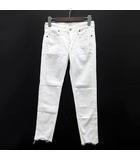 サムシング something アンクル デニム パンツ タイトフィット ローライズ スキニー ジーンズ ストレッチ 裾カットオフ SEA06 ホワイト 白 XS