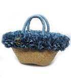カシェリエ Cachellie トートバッグ かごバッグ フリル 編み込み ナチュラル ブルー