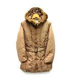 アンナモリナーリ ANNA MOLINARI グースダウン ジャケット ベルテッドコート ナイロン フード付き 毛皮 リアルファー キャメル 40