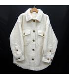 ウール ボア シャツ ジャケット オーバーサイズ 長袖 オフホワイト 1 FWFJ194020 2019AW 美品