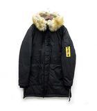 ディーゼル DIESEL 中綿 エスキモー コート ミリタリー ジャケット フェイクファー フード付き 2018AW W-BULLION ブラック 黒 XL