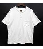 7.7oz ヘンリーネック Tシャツ 半袖 ポケット カットソー コートジボワール オーガニック コットン ホワイト 白 L J48393J01