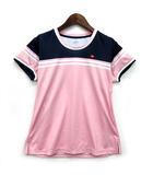 エレッセ ellesse TEAM クルー Tシャツ カットソー 半袖 吸汗速乾 UVプロテクト 抗菌防臭 ピンク M 美品 テニス バドミントン