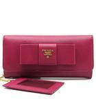 プラダ PRADA サフィアーノ レザー リボン 二つ折り 長財布 パスケース付き 1MH132 IBISCO ピンク