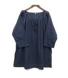 無印良品 良品計画 スモック ブラウス チュニック オーバーサイズ 七分袖 リボン コットン 薄手 ネイビー 紺 M