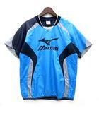 ミズノ MIZUNO ウインドブレーカー シャツ 半袖 ロゴプリント ライトブルー 青 M 美品 62WS-162 サッカー