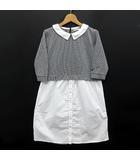 プードゥドゥ POU DOU DOU シャツ ワンピース フラットカラー 七分袖 ホワイト ブラック 白 黒 M