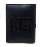 ケンゾー KENZO カードケース レザー ロゴ 二つ折り 紺 ネイビー 美品