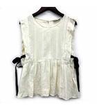 ザラ ZARA trf collection ノースリーブ ブラウス リボン フレア コットン インド製 オフホワイト 白 M 0881/167