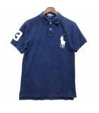 ポロシャツ 半袖 鹿の子 ビッグポニー刺繍 スリムフィット ネイビー 紺 M