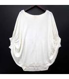 インディヴィ INDIVI ドルマン ニット セーター 七分袖 レーヨン ナイロン  ホワイト 白 38 美品