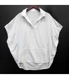 スキッパー ストライプ ドルマン シャツ ブラウス 半袖 ワイヤー衿 ホワイト 白 38 美品