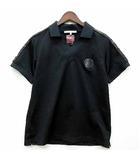 ジャージー  ポロシャツ 半袖 スカル ラバーワッペン カモフラ 迷彩 切替 ブラック 黒 XL 日本製
